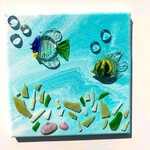 Original art mixed media glass fish/bubbles shells